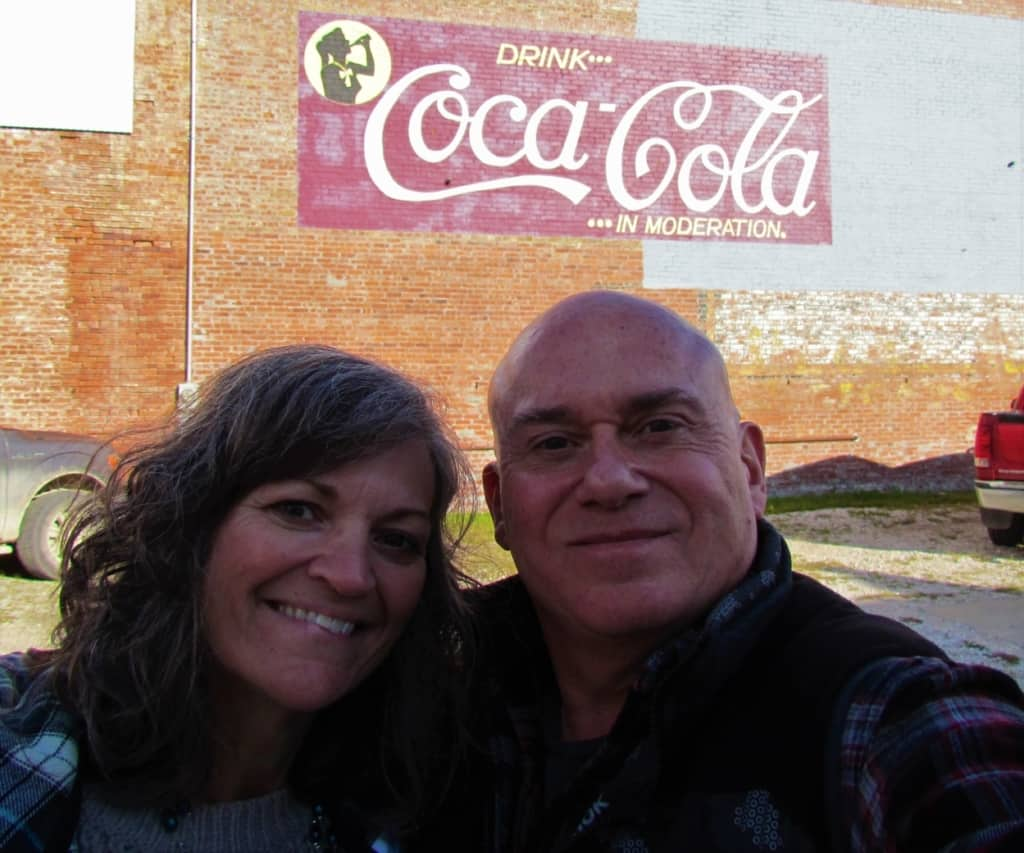 The authors pose for a selfie in Iola, Kansas.