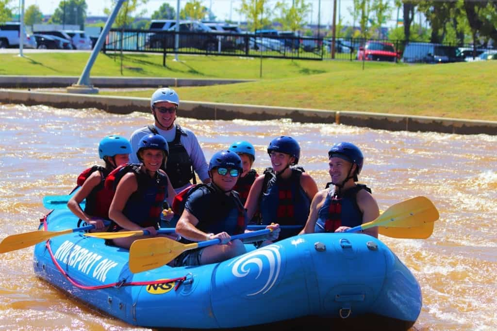 It's all smiles after successfully navigating the rapids course at Riversport Adventures OKC, in Oklahoma City.