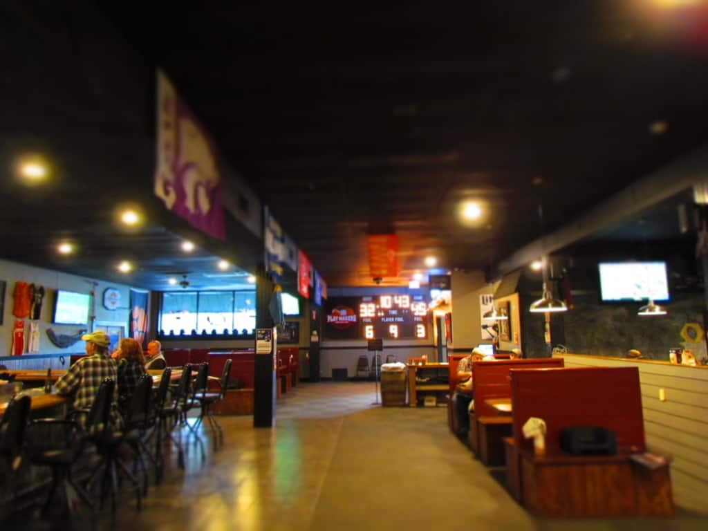 The spacious interior of Playmakers Sports bar and Grill in Chanute, Kansas.