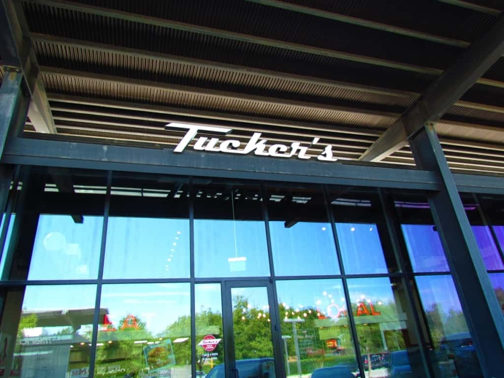 The exterior of Tucker's suggests the industrial vibe that you find inside.