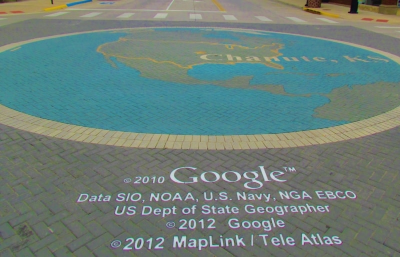 The center of Google earth is noted in the Main Street intersection in Chanute, Kansas.