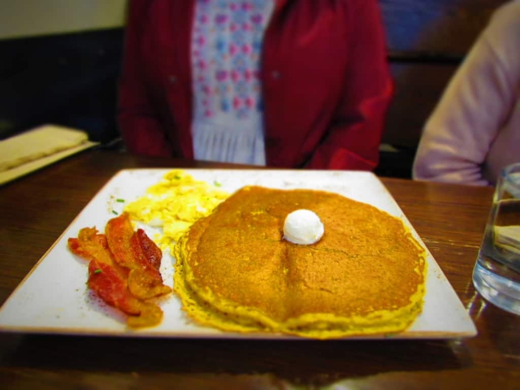 Pumpkin Pancakes are a seasonal menu item at First Watch.
