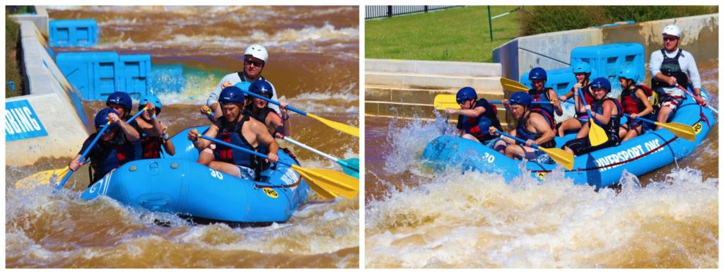 A raft full of guests paddle through the rapids at Riversport OKC.