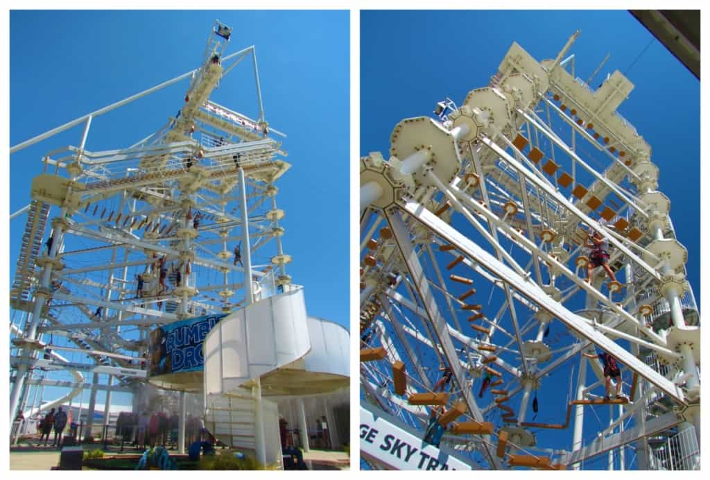 Th sky trail offers 80 feet high of climbing and balance challenges.