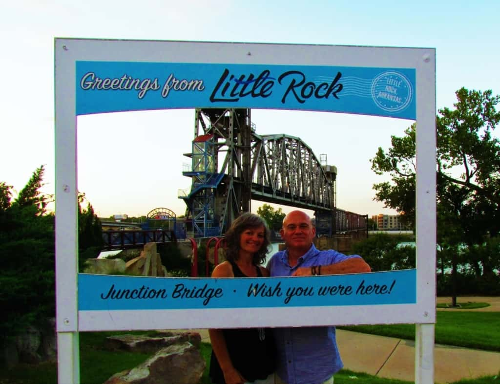 The authors pose at a selfie station along the Central Arkansas River Trail.