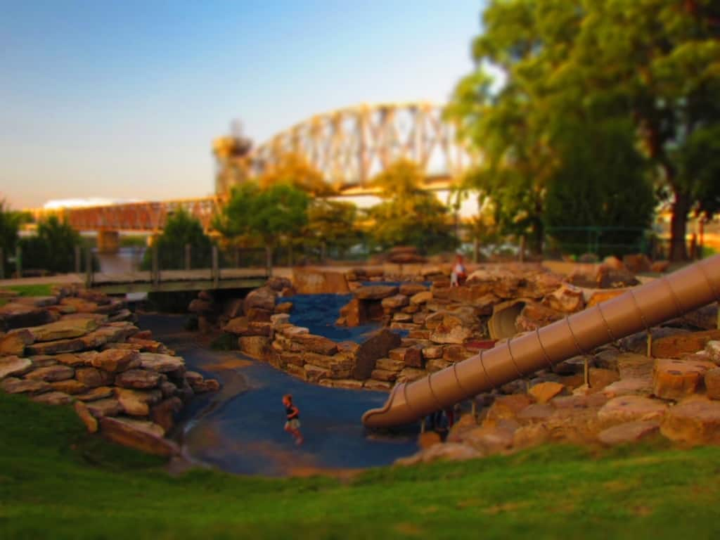 A playground is just one of the attractions that draws visitors to the Riverwalk in Little Rock, Arkansas.