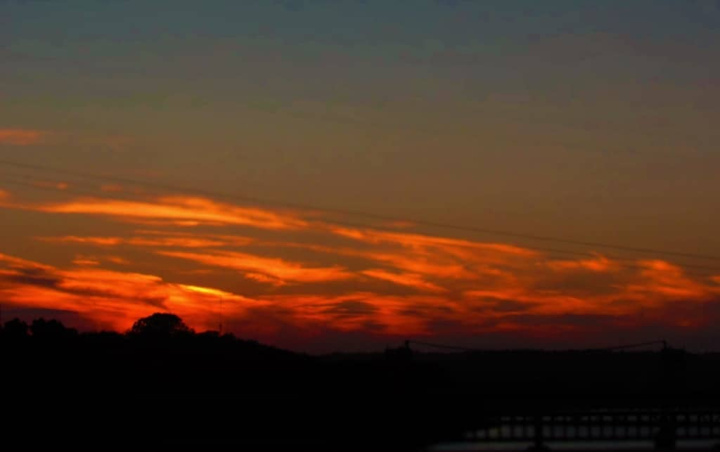 Sunset blazes with color in this picture from Little Rock.