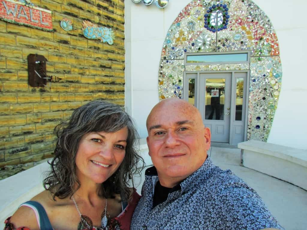 """The authors pose for a """"bathroom selfie"""" at the Bowl Plaza in Lucas, Kansas."""