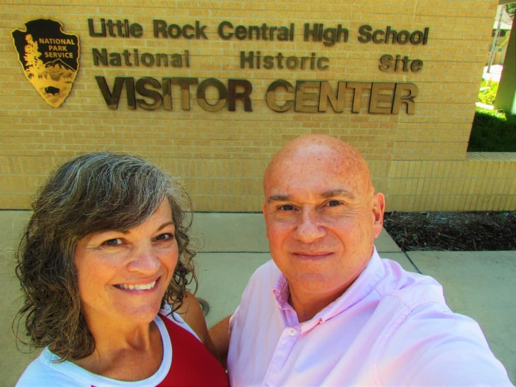 The authors pose for a selfie outside of the visitors center.