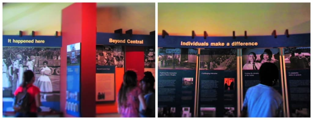 Students examine the informational placards at the Central High School Historic Site.