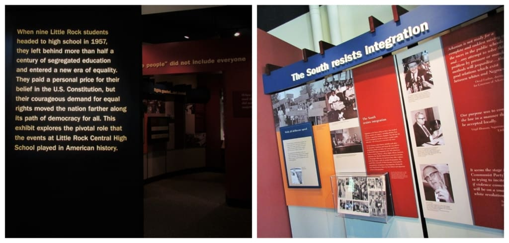 Informational panels tell the story of the nine students who challenged the segregated policy of Little Rock in the 1950's.