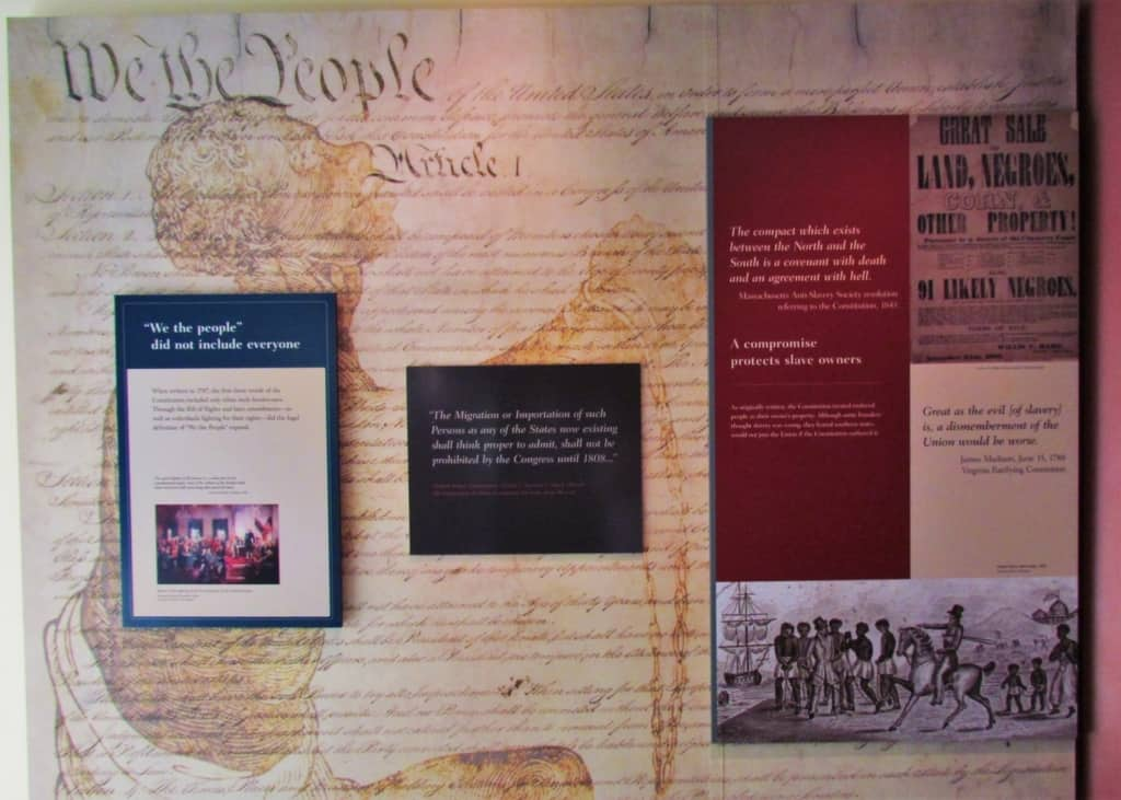 The start of the tour through the historic site challenges the idea that freedom was for all.
