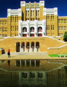 Central High School, in Little rock, was the site of one of the nations biggest segregation fights seen in a public presentation.
