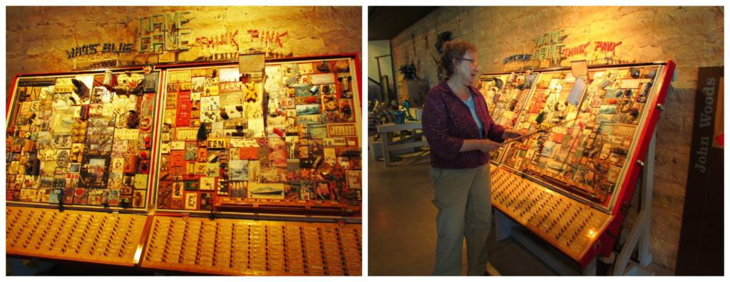 Our tour guide shows us how the Name Game exhibits works.