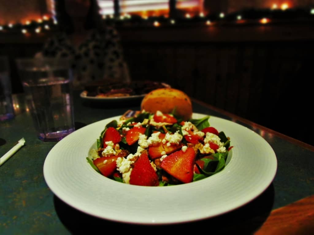 The Berry Spinach Salad is a lower calorie option for a delicious lunch at Stone Canyon Pizza.