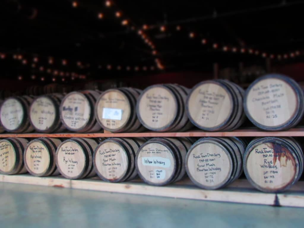 Barrels sit and age the products at Rock Town Distillery.