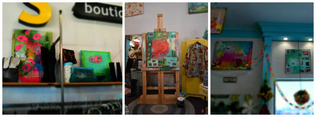 Jenny displays her artwork throughout the store, with much of it for sale.