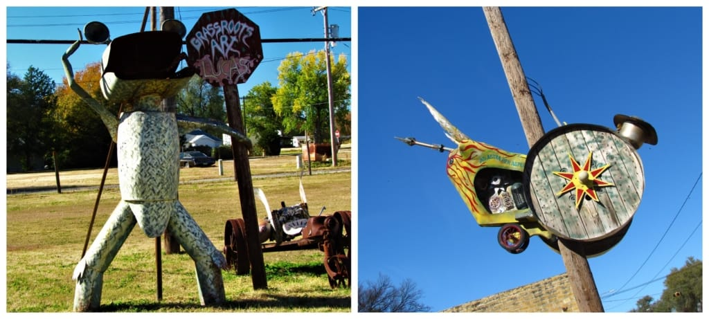 A couple of pieces of folk art are displayed in Lucas, Kansas.