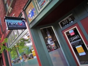The exterior is well marked at Nexus Coffee in Little Rock.