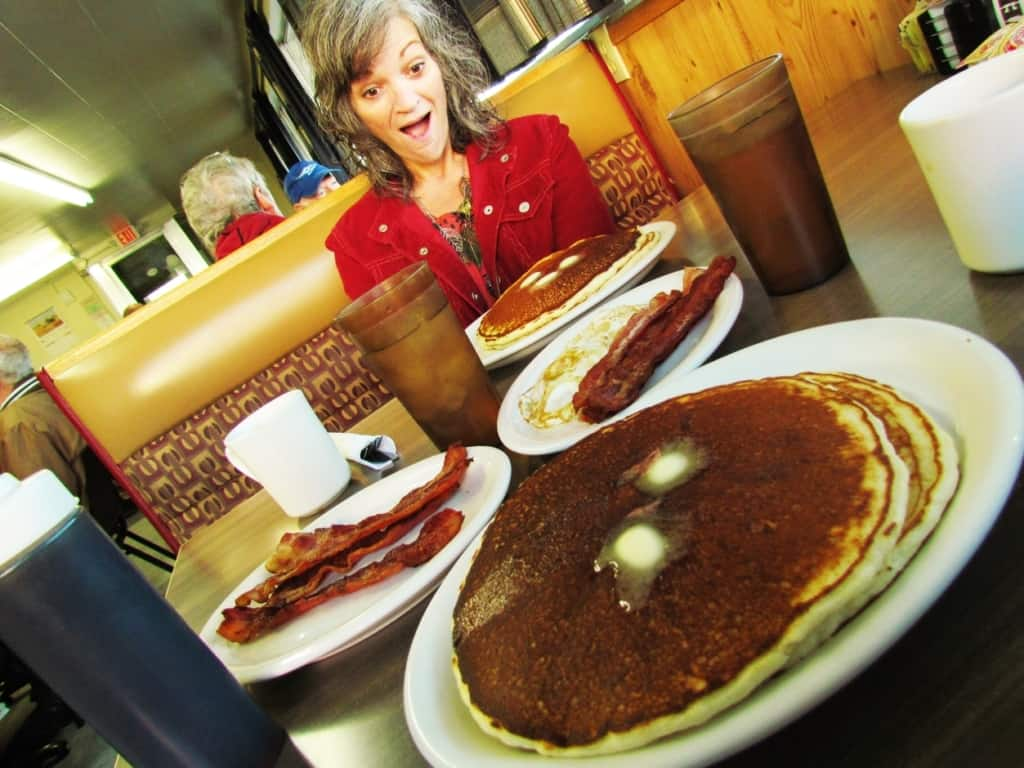 A massive breakfast awaited the authors at the K-18 Cafe in Lucas, Kansas.