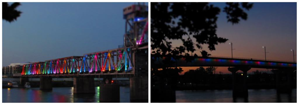 Two of the lighted bridges that cross the Arkansas River in Little Rock, Arkansas.