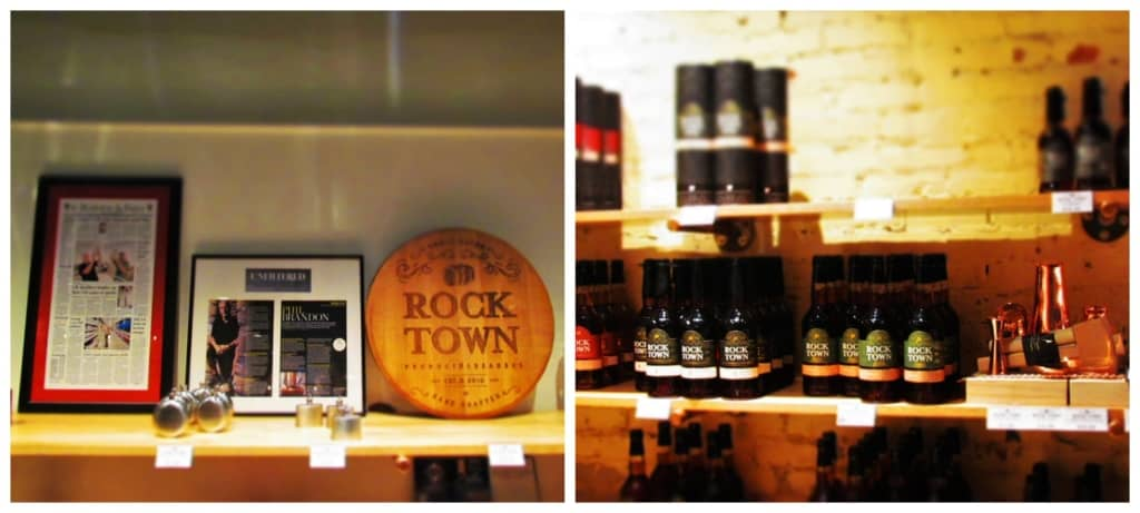 Some of the products available for purchase at Rock Town Distillery.