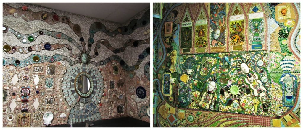 The interior of the women's restroom, at Bowl Plaza, is covered with mosaics.