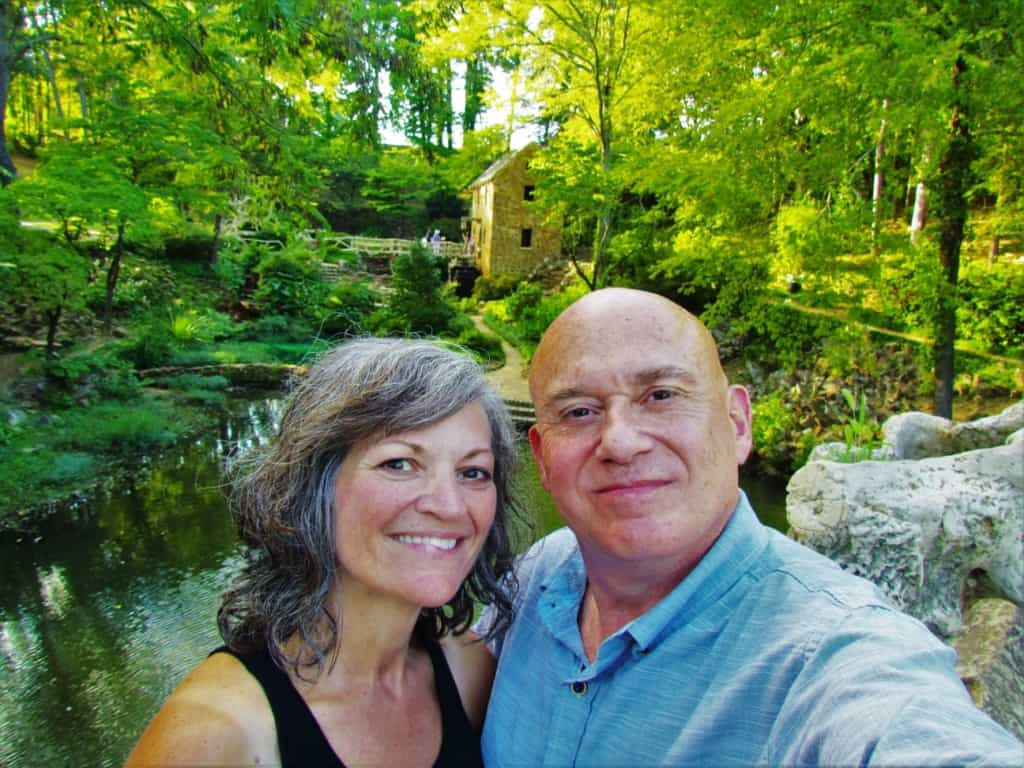 The authors pose for a selfie at the Old Mill, which was used during the opening scene of Gone With The Wind.