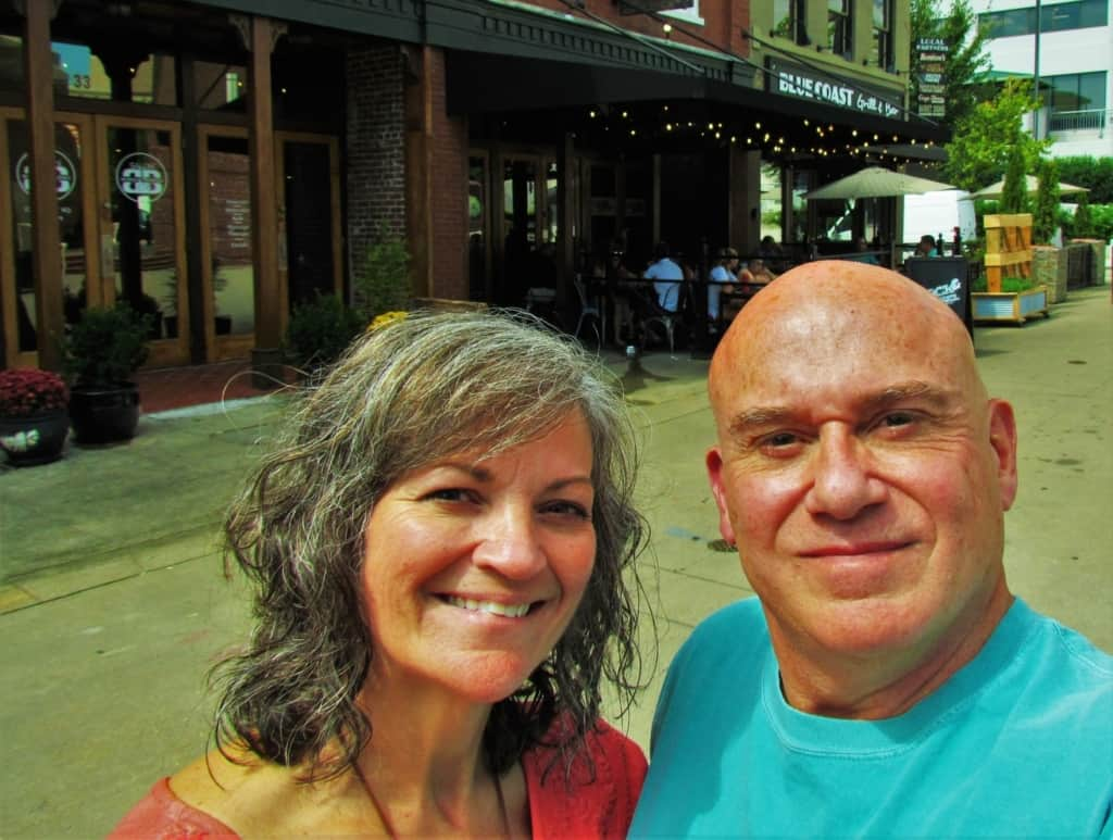 The authors pose for a selfie outside of Stock & Barrel in Market Square.