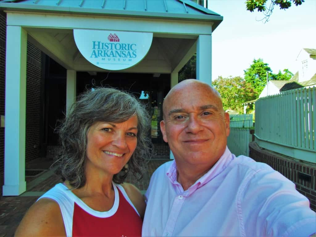 The authors pose for a selfie outside of Historic Arkansas Museum.