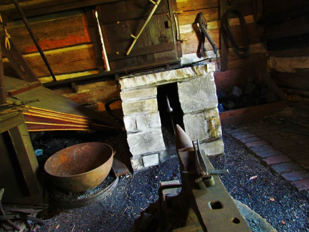 One of the cabins at James White's Fort included blacksmithing equipment.
