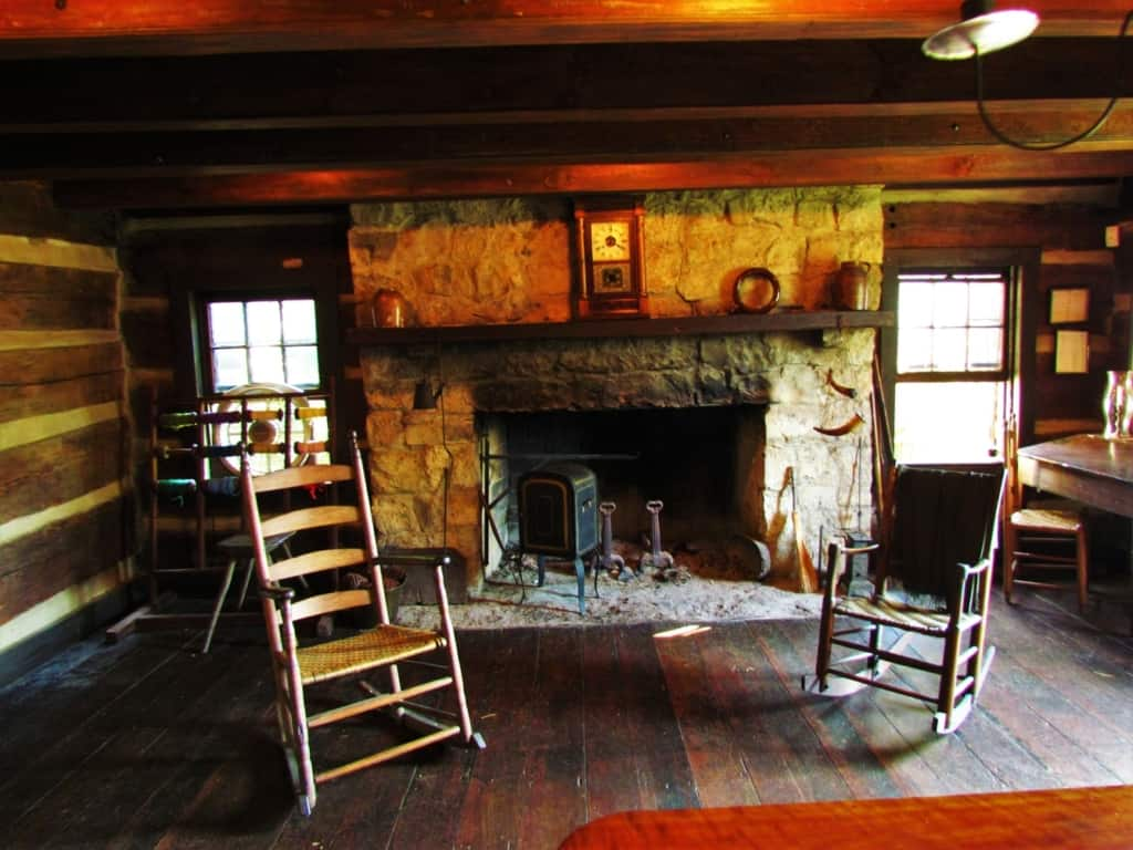 An invisiting space in front of the fireplace would have been welcome on a cold winter day at James White's Fort.