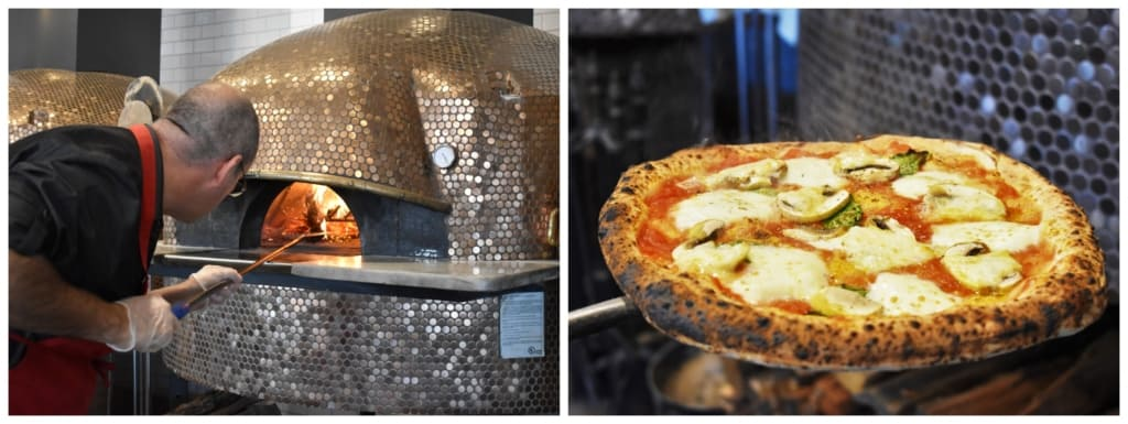 Wood fired cooking makes the crust chewy with a slight char for additional flavor.