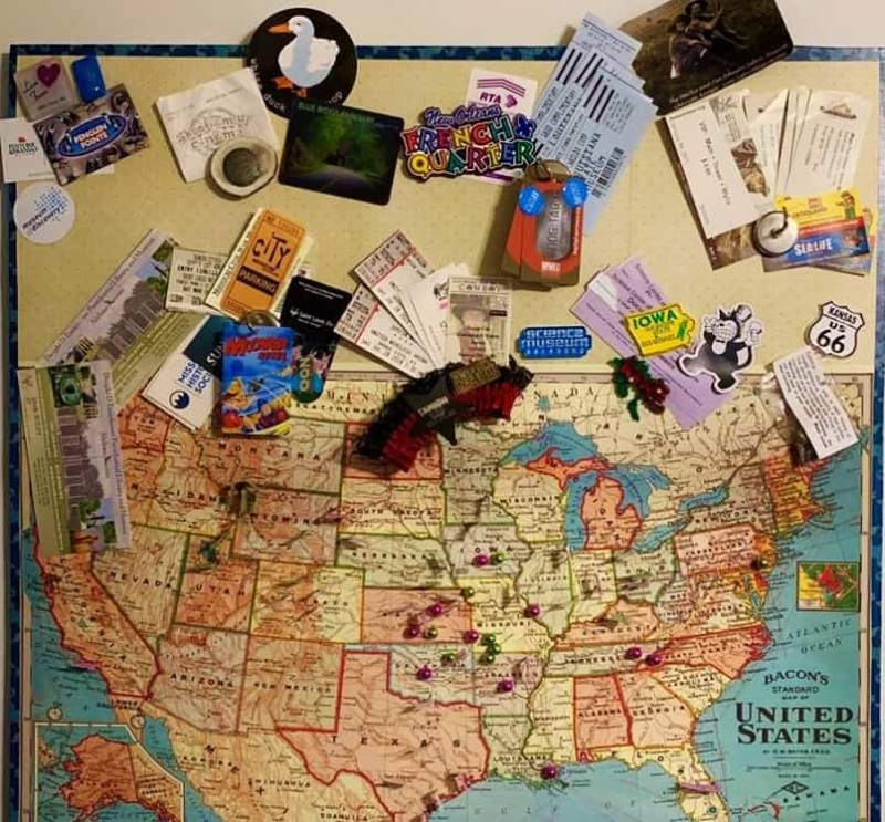 Our map helps us remember the places we visited during our year of exploring.