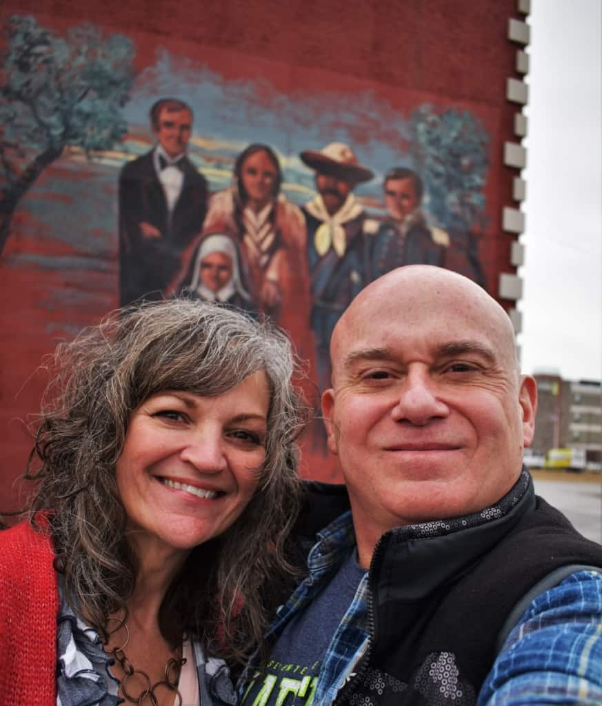 The authors pose for a selfie in downtown Leavenworth, Kansas.