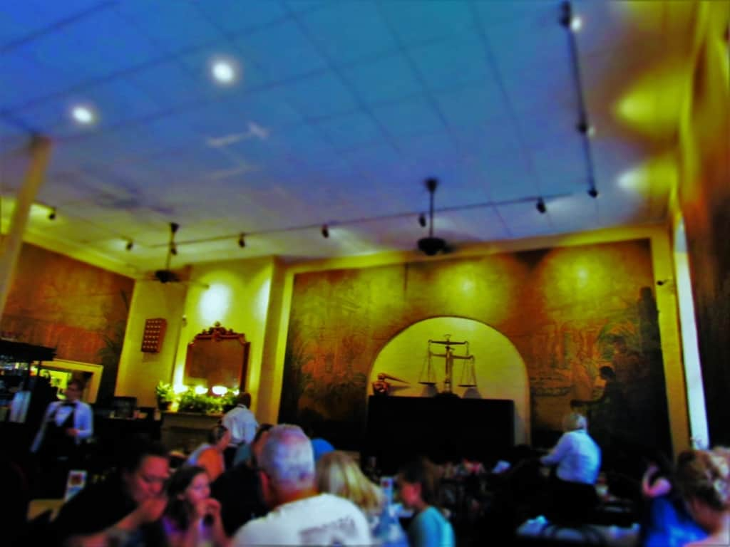 The interior of Gumbo Shop has an ages old feel like many Hew Orleans buildings in the French Quarter.