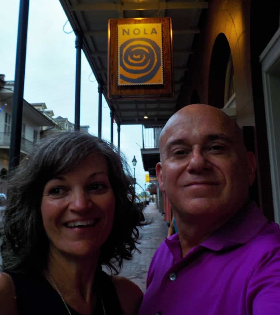 The authors pose for a selfie in the heart of the French Quarter.
