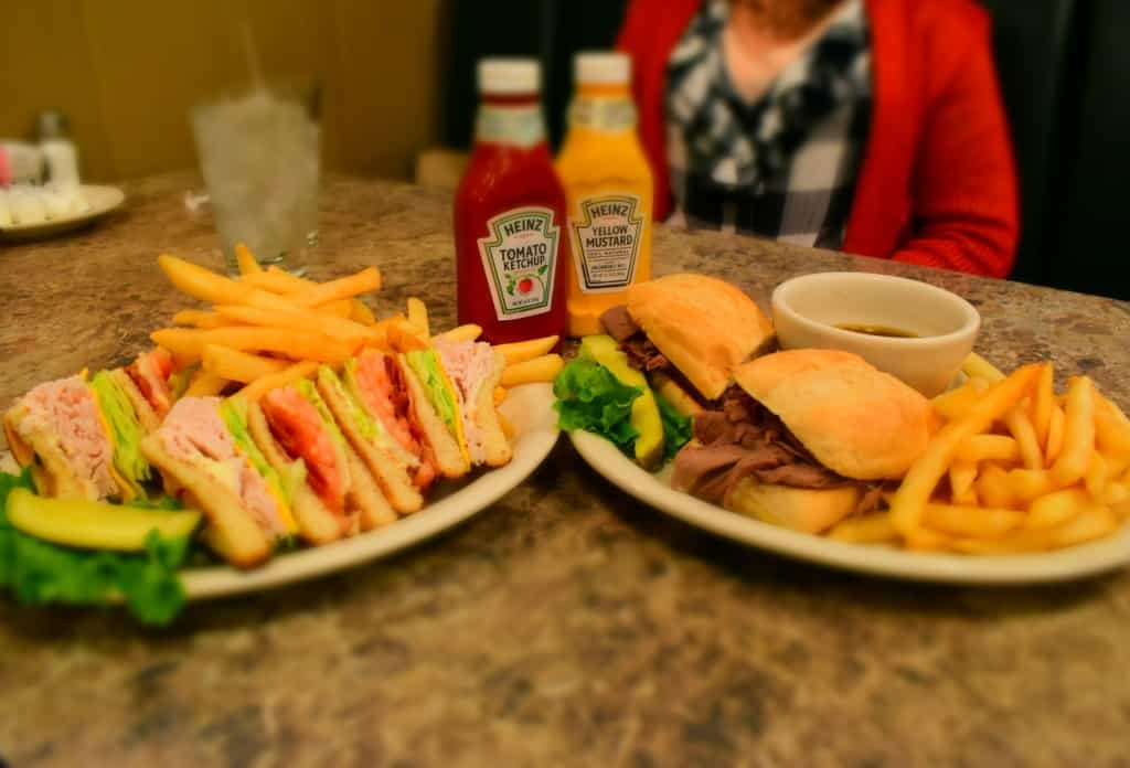The authors lunch plates are homestyle eats that one finds at diners in towns all across the nation.