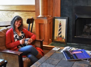 Harbor Light has a cozy seating spot right in front of the fireplace.
