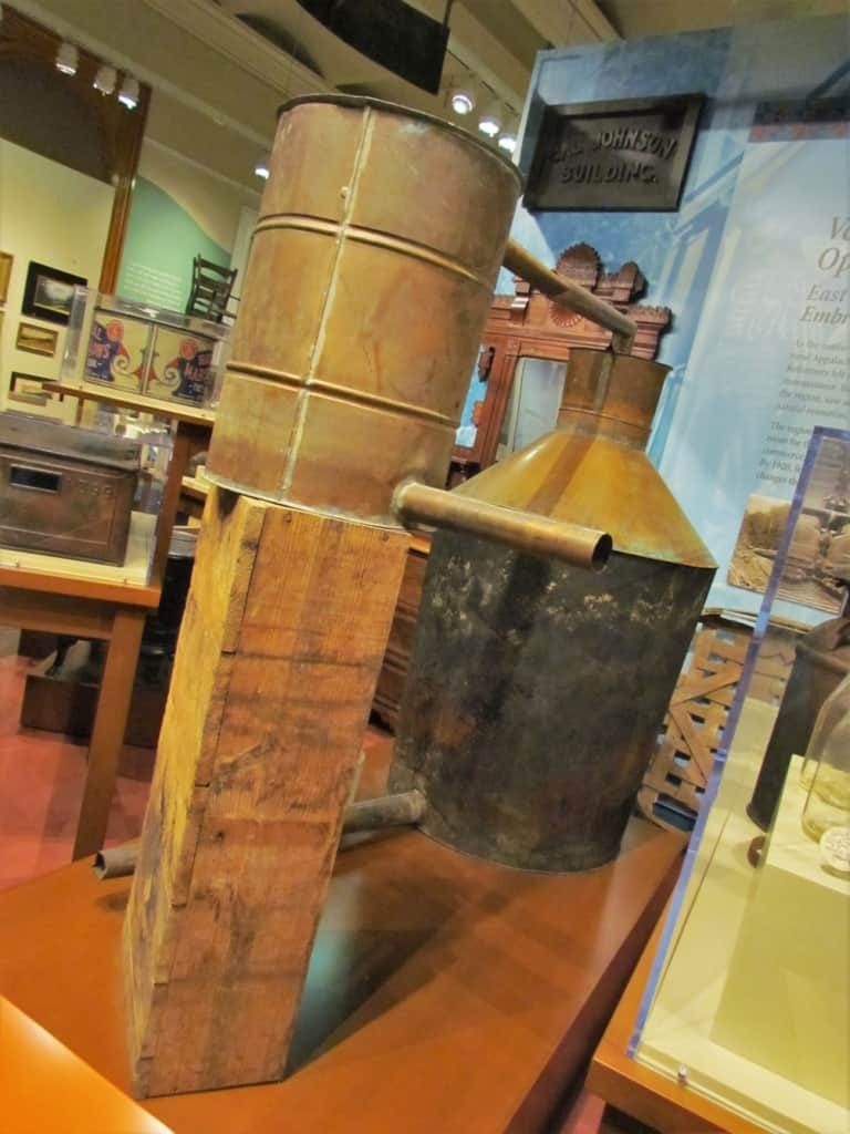 An example of a still that was used by moonshiners to produce alcoholic beverages.