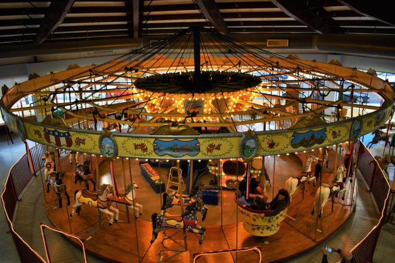 A beautiful carousel brings the thrills of childhood back to mind.