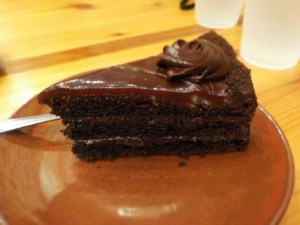 A moist slice of Chocolate Cake makes for a perfect dessert.