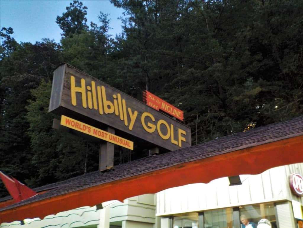 The entrance to Hillbilly Golf is at street level, but to play requires an incline train ride up the hill.