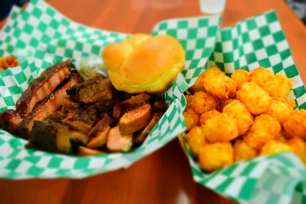 A Three way Platter offer customers a choice of three meats from the menu at Mudhole BBQ.
