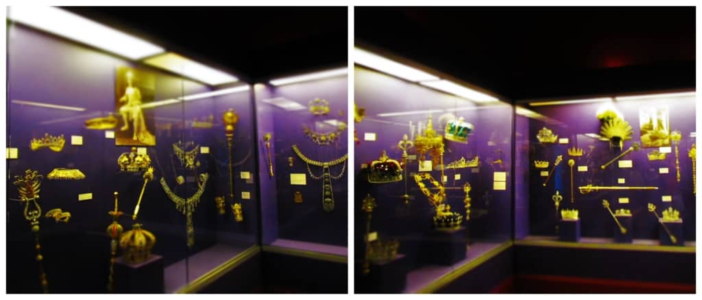 An exhibit displays a variety of the royal jewels that have been used by Krewe kings and queens.