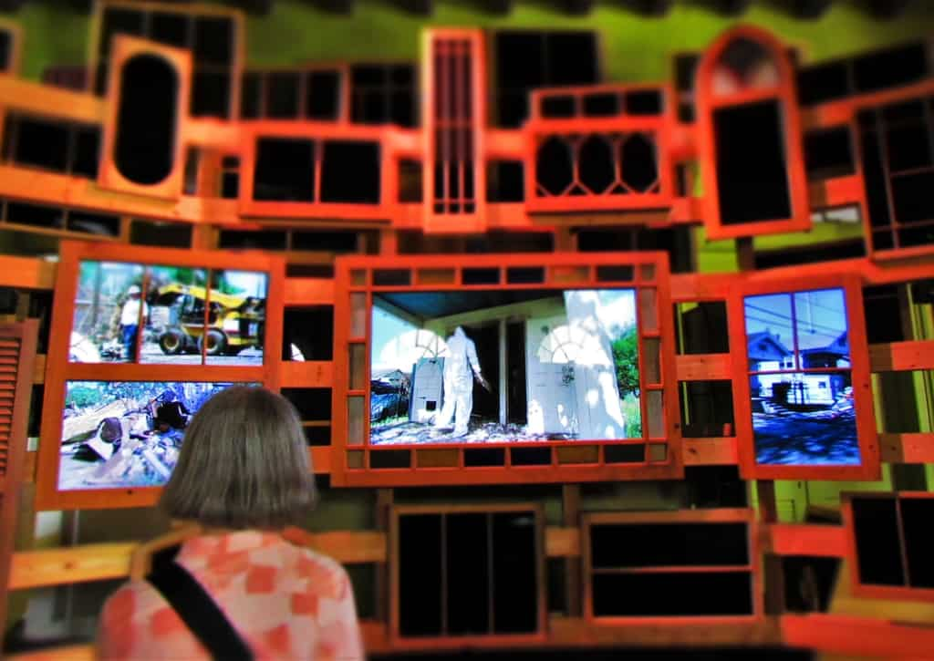 Visitors can watch the video reactions of residents and rescue workers who exerienced the aftermath of Hurricane Katrina.