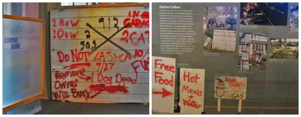 Some of the displays at the Presbytere Museum showcase the resilience of New Orleans.