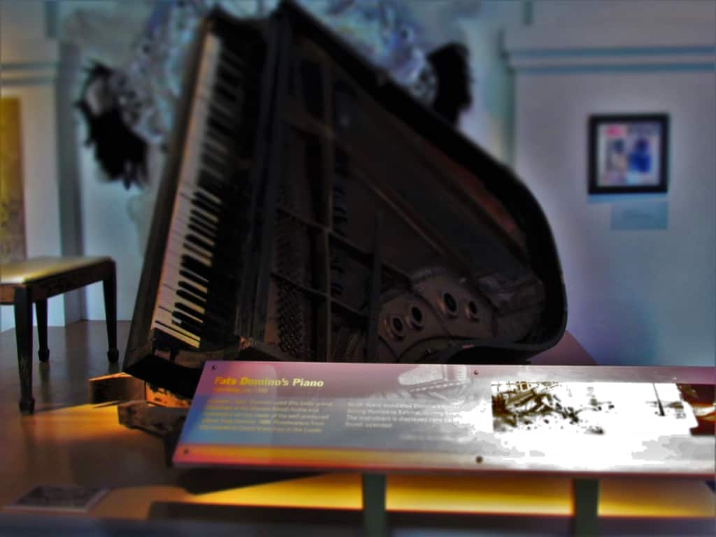 The piano of Fats Domino is displayed as part of the damage from Hurricane Katrina.