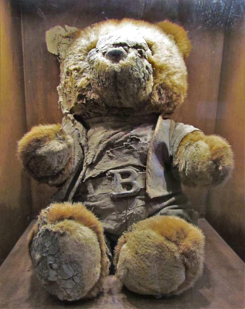 A teddy bear is among the collection of artifacts found after Hurricane Katrina.
