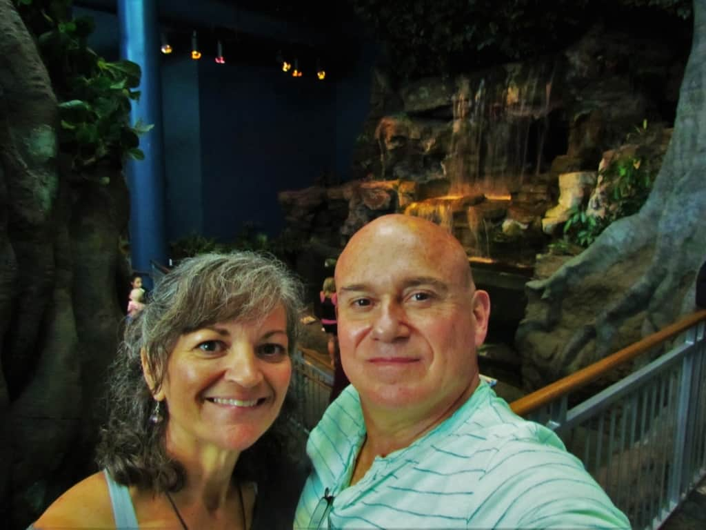 The authors pose for a selfie in the picturesque setting of the Ripley's Aquarium.